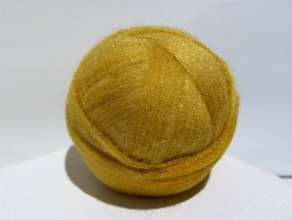 Bright gold Starbright nylon, roving top, Blending, Wet Nuno Needle Felting, Spinning Fiber add in .5 oz, sock yarn vegan fiber, yellow gold