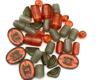 34 czech mix glass beads,6mm to 18mm#PV 060