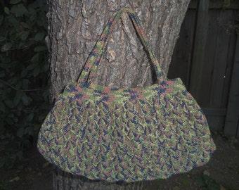 Crocheted Handbag Art Deco 1920s Handbag 1930s Handbag 1940s Handbag Crocheted Purse 20s 30s 40s Small Handbag Blue Green Yellow Red