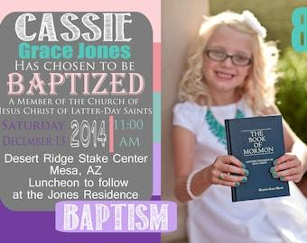 Customized Girl Baptism Invitation