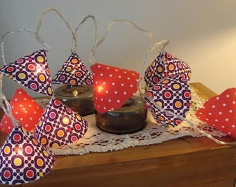 String light, lighting, 10 fabric lampshades, spirit seventies vintage flowers, red, purple, polyphane anti fire, led