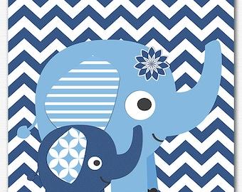 Navy and blue elephant nursery Art Print ,baby boy wall art, Children art, baby wall decor, elephant, chevron - UNFRAMED