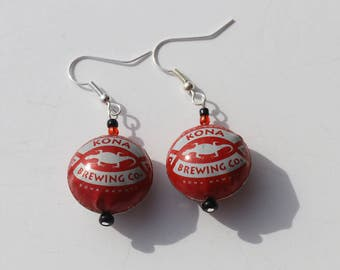 Recycled red bottle cap earrings with lizard. Kona Brewing Co Hawaii. Beer bottle caps made into rounded beads.