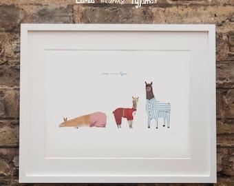 Llama wearing Pyjamas Print
