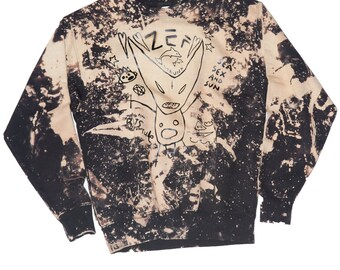 Splatter sweatshirt with ZEF artwork ninja zefstyle grunge futuristic baggy sweatshirt handmade