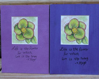 Watercolor Hellebore with Quote and Hand Painted Mat