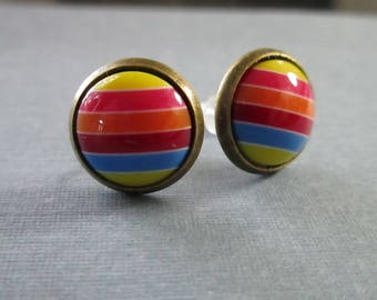 Muted Rainbow Round Studs . Antique Brass Settings . Earrings