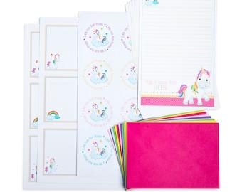 Personalised Rainbow Unicorn Writing Set