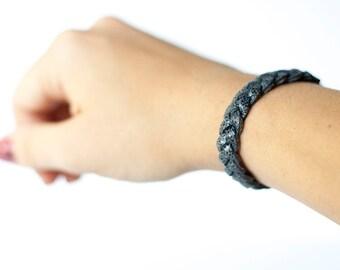 Braided Leather Bracelet / Jean Sparkle