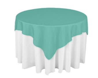 Ordinaire Aqua 60 X 60 Square Overlay 100% Woven Polyester Tablecloth For Banquets,  Weddings U0026 Parties