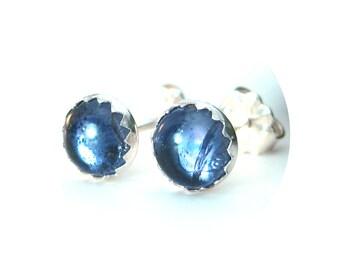 6mm Iolite Stud Earrrings set in Sterling Silver, iolite Jewelry