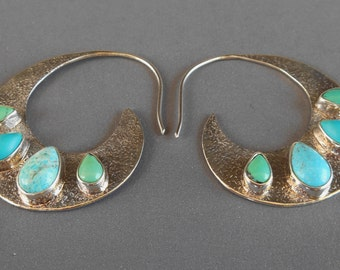 Sterling Silver hoop Turquoise Earrings / Bali handmade jewelry /  silver 925 / 1.50 inch / (#530K)
