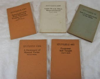 Vintage Set of 5 Little Blue Books Grammar Tongue Twisters Musical Terms Bible Mispronounced Words