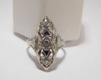 18K White Gold Antique Ornate Filigree Diamond and Sapphire Ring