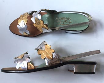 Glorious Metallic Leather Sommers at Jay Thorpe NOS Sandals 7N - Mint!