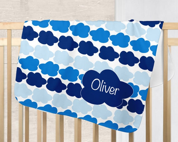 Cloud Baby Blanket; Blue, Personalized with Name