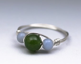 Canadian Jade & Angelite Gemstone Sterling Silver Wire Wrapped Bead Ring - Made to Order, Ships Fast!