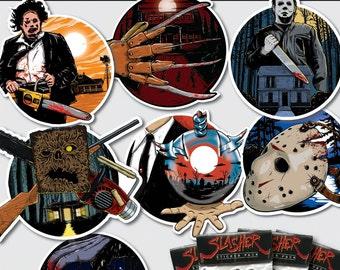 SLASHER STICKER PACK horror stickers Halloween evil dead phantasm hellraiser friday the 13th texas chainsaw massacre nightmare on elm street
