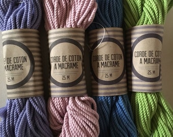 Bundle 100 ft /30 meters  of 3 ply twisted cotton rope for macrame , diameter 3mm ( 9 ga), made in france lilac, pink, green, blue