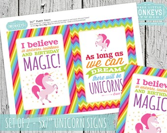 "INSTANT DOWNLOAD Magical Unicorn 5x7"" Decor Signs"