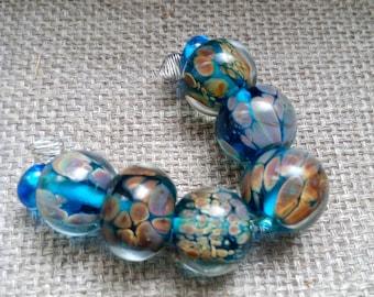 Handmade Glass Lampwork Beads - 8 Beads Set  - Lilac