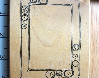 Imaginations Large Button Border Frame DESTASH Rubber Stamp, used rubber stamp