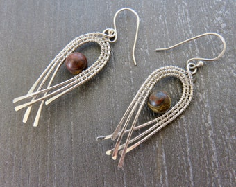 Wire Wrapped Earrings - Sterling Silver Dangle Earrings - Gift Idea For Her - Long Silver Earrings - Bridesmaid gift