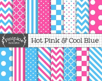 Pink and Blue Digital Paper, Hot Pink, Chevrons, Polka Dots, Stripes, Instant Download, Commercial Use, Scrapbooking Paper, Blu