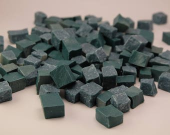 Hand-Cut Mosaic Smalti - Blue green - 1/2 pound - 100 pieces - 10 mm x 10 mm