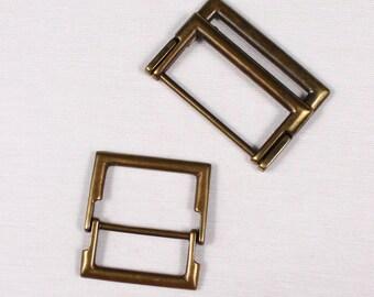 2 50x35mm belt loops, metal, brass (3789)