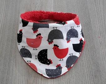 black and Red chicken theme baby bib bandana