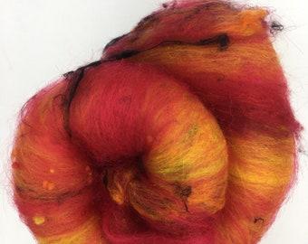 "Hand Carded "" Burning Embers "" Art Batt, Merino, Sari Silk, Nylon, Nepps & Angelina Fibre, 100g"