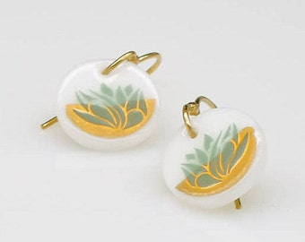 22k GOLD and Glass Earrings - on nickle free 14k gold fill hooks - Lotus Flower