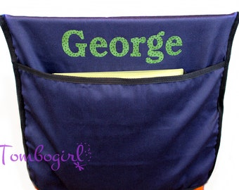 Kids Chair Pocket  / Chair Bag - Personalised / Customised name, Australian made - Navy Blue