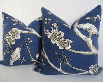 Blue Pillow Covers, Navy Blue Pillow, Bird Pillow Cover, Blue Pillow, Bird Pillow, White Pillow, White Blue Pillow Cover, 20x20 Pillow