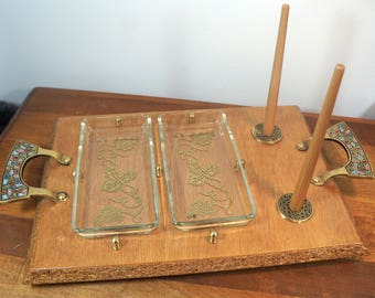 Mid Century Teak and Enamel Lox and Bagel Seder Serving Tray Holy Land Israel Judaica