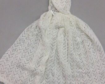 Machine  Knitted Baby Christening Shawl
