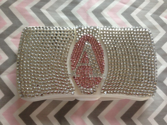 Stunning travel rhinestone diaper wipes case with rhinestones.   Custom with personalization.