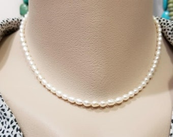 Wedding Pearl Necklace - Flower Girl and Junior Bridesmaid Gift - Genuine Natural White Freshwater Pearl