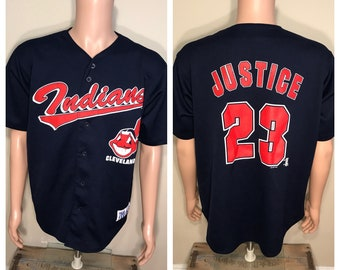 David Justice true fan jersey // Vintage Cleveland Indians mesh shirt // David justice jersey shirt // Adult size large // 90s tribe //