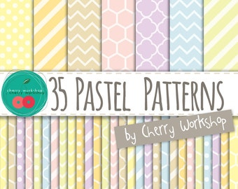 "Pastel Digital Paper ""Pastel Patterns"" Spring Digital Paper in Pastel Colors - cute backgrounds for scrapbook, cards, invites"
