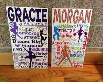 SALE Personalized Wooden Teen Dance Dancer Bedroom Sign Wall art decor