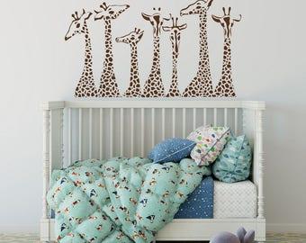 Giraffe Wall Decals Nursery, Giraffe Family Wall Stickers Safari Nursery  Decor, Jungle Wall Decal