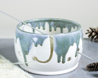 Knitting Yarn Bowl, White with sage silver highlights, Misty Mountain, 3 Extra Holes Yarn holder multiple yarn balls MADE TO ORDER