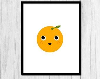 Orange Print Digital Download Orange Fruit Printable Orange Art Fruit Print Kitchen Decor Orange Poster Fruit Art Cute Kids Room Decor Art