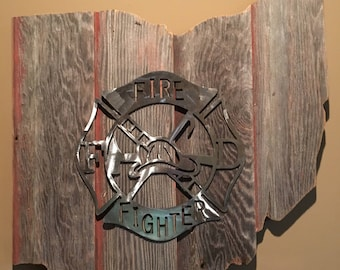 Ohio Barnwood Firefighter Sign