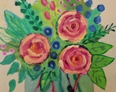 Original floral abstract ...