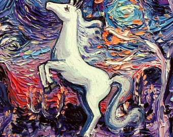 Last Unicorn Art - Starry Night vertical rectangular print I'm Alive by Aja 9x12 and 18x24 inches choose your size