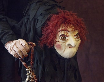 Wicked Witch Puppet, Handmade OOAK Puppet, FREE SHIPPING, Folk evil witch puppet, hunchbacked villain witch