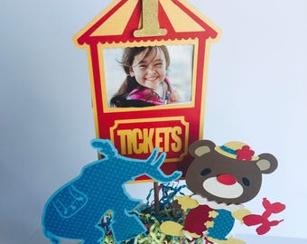 Personalized Carnival Party Centerpiece, Circus Party Centerpiece, Photo Centerpiece